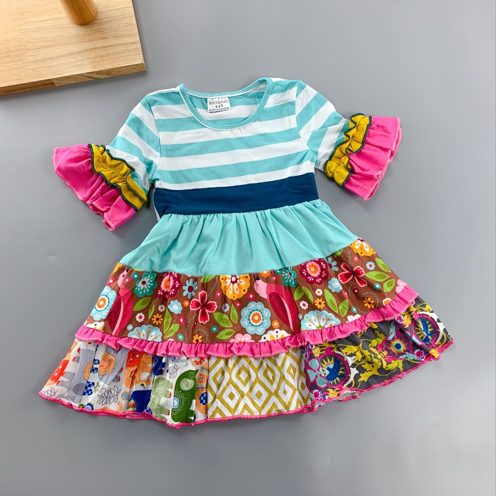 Blue stripes Elephant design Ruffle Full sleeves style Summer with Flower trim and pocket Baby Girls Dress for present