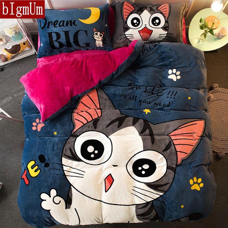BIgmUm Cotton Sheet Pillowcases & Duvet Cover Sets Queen Europe King Size 4pcs Bedding Set Animal Cartoon Panda Printed For Kid