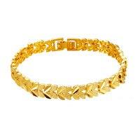 Trendy 2-leafs Projekt Łańcuch Żółtego Złota Wypełnione Kobiet Na Rękę Bransoletka Szczęście Biżuteria Prezent 18.5 cm (7.28