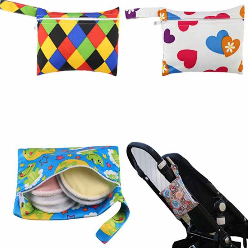 Baby Cloth Diaper Wet Dry Bag Pouch For Nursing Pads Menstrual Pads Stroller Mini Tote Waterproof Reusable Cloth Diaper Bag