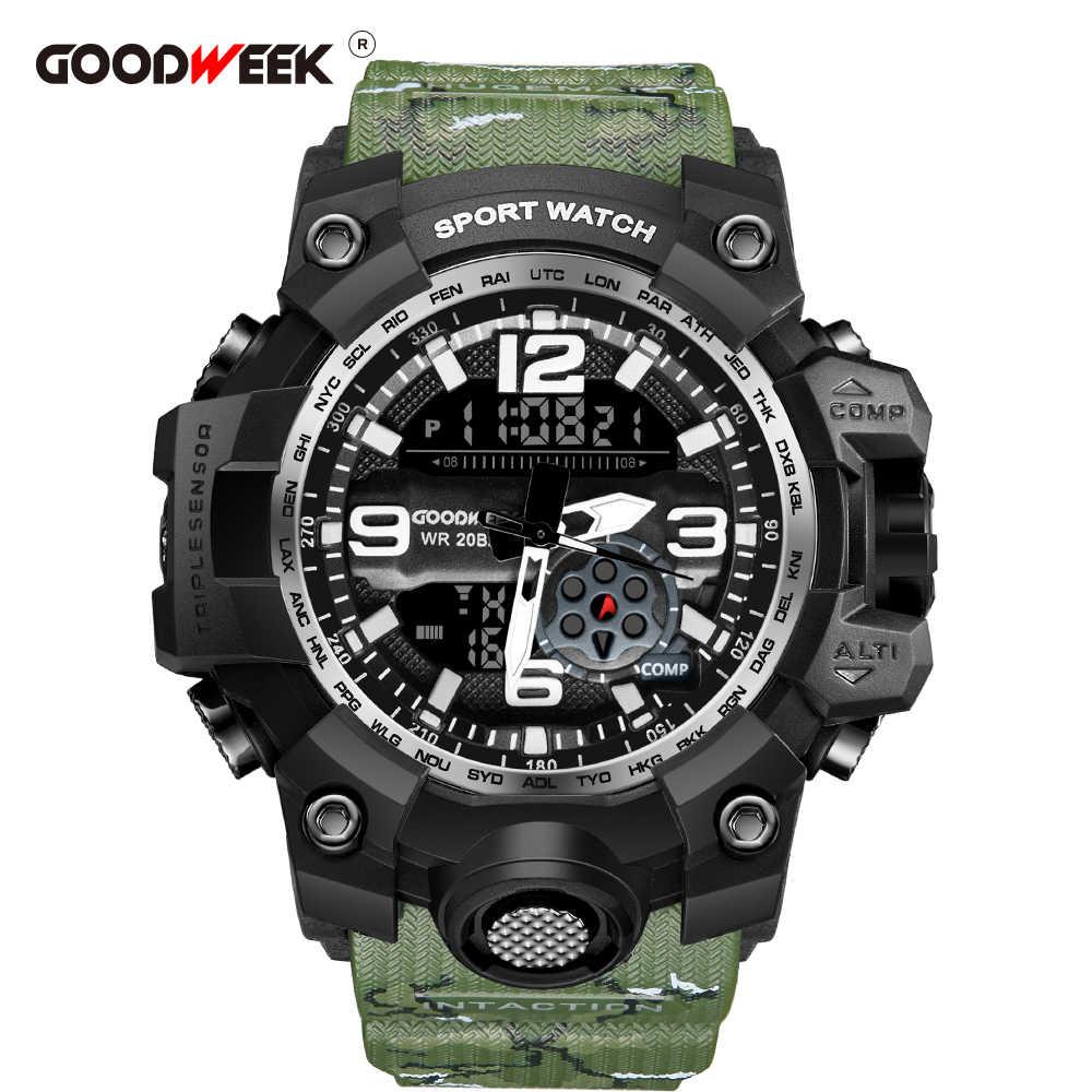 GOODWEEK Homens Relógio Do Esporte Militar de Camuflagem Do Exército À Prova D' Água Assistir Dupla Afixação Relógios g Estilo Choque Resitant Relogio masculino