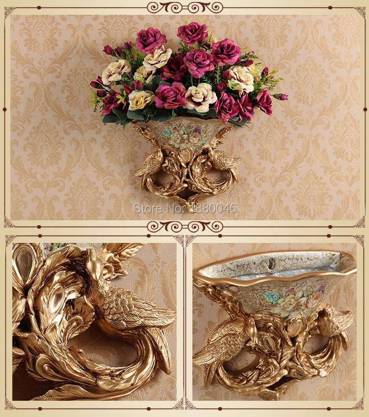 Brand New European resin peacock vase flower basket retro wall mural bedroom living room decoration Pendant