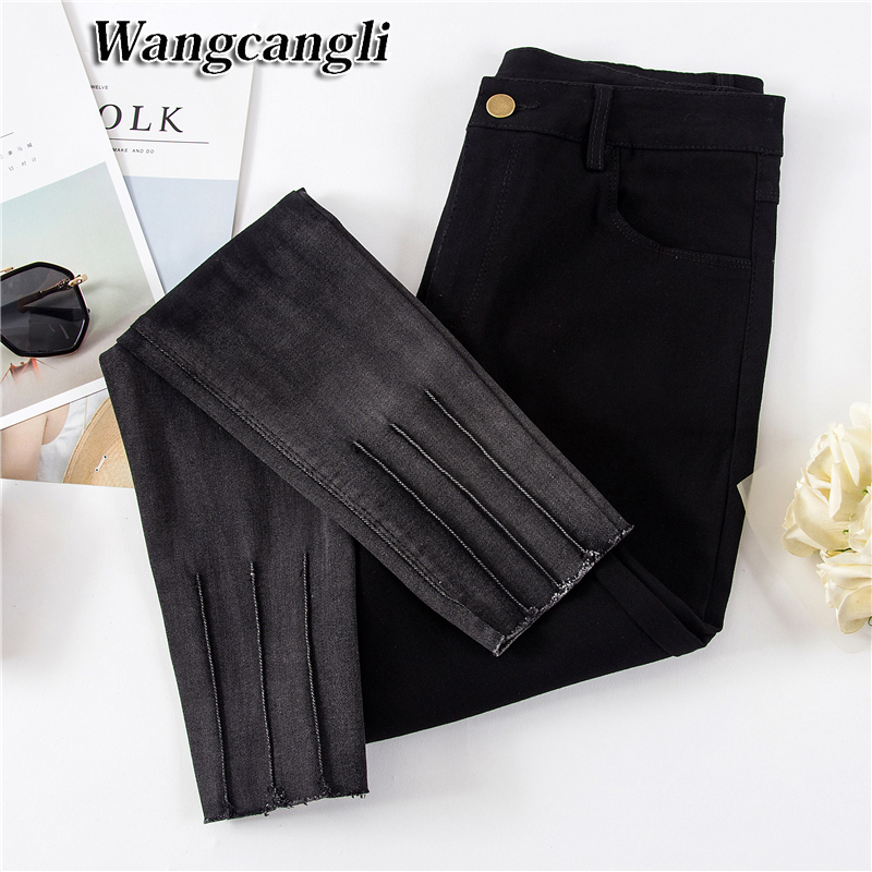 Free Shipping Autumn New Slim Jeans For Women Large Size Women's Denim And Thin Pants Feet Women Denim Jeans