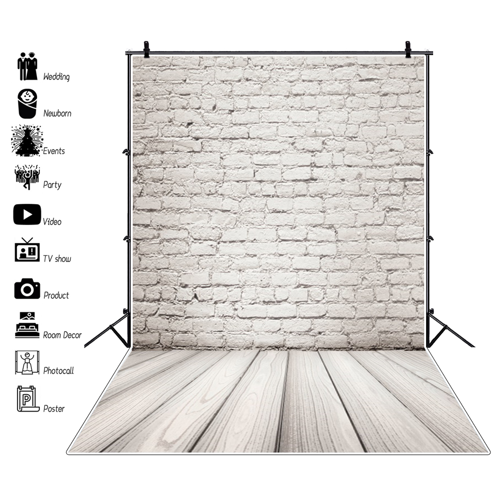Gray Wall Backgrounds Wooden Board Floor Brick Baby Birthday Party Portrait Photography Backdrops for Photography Cakes Photos