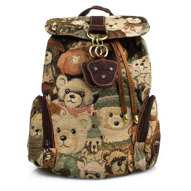 Hot Selling Cute Teddy Bear Women Vintage Canvas Backpacks For School Teenage Girl Bag Free Shipping