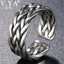 V.YA Big Size Thai Silver Ring For Men Women 925 Sterling Silver Ring Weave Shape Wedding Anniversary Fine Jewelry
