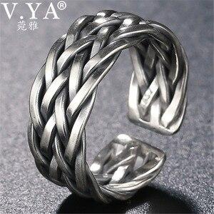 Image 1 - V.YA Große Größe Thai Silber Ring Für Männer Frauen 925 Sterling Silber Ring Weben Form Hochzeitstag Edlen Schmuck