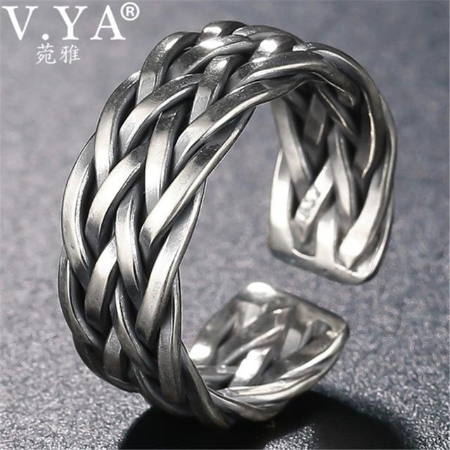 V.YA Große Größe Thai Silber Ring Für Männer Frauen 925 Sterling Silber Ring Weben Form Hochzeitstag Edlen Schmuck