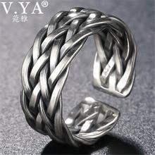 V. ya tamanho grande anel de prata tailandês para mulheres masculinas 925 anel de prata esterlina forma tecer aniversário de casamento jóias finas