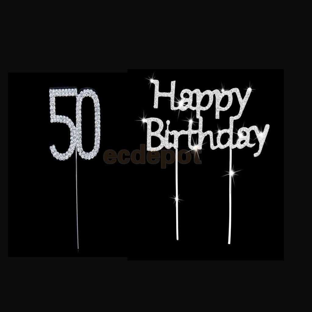 Rhinestone днем рождения + 50th торт топперы для вечеринки дня рождения торт Декор