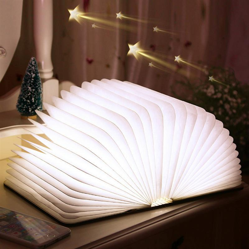 Creative Foldable Pages Led Book Shape Night Light Lighting Lamp Portable Booklight Usb Rechargeable icoco usb rechargeable led magnetic foldable wooden book lamp night light desk lamp for christmas gift home decor s m l size