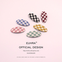 EUHRA 6 Colors Canvas Plaid Cute Hair Basic Style Pins Bobby Pin Girls Clip Grips Women Bob