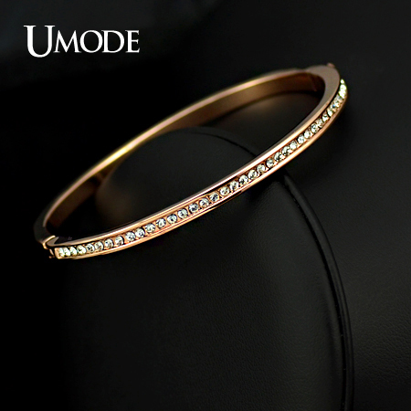 UMODE Brand Design Rose Gold Color Half Circle Austrian Crystals Cuff Bracelet JB0073A