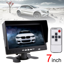 12/24V 7 Inch TFT LCD Color Car Monitor Digital 2 Way Video Input Security Monitor Display Screen with Sunshade Hood 800*480 no blue 7 fpv lcd color 1024x600 fpv monitor video screen 7 inch sun hood for rc multicopter dji phantom ground station qav250