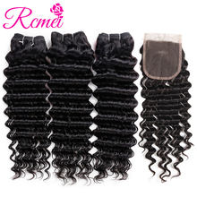 Rcmei Malaysian Deep Wave Bundles With Closure Non Remy Human Hair Weave 3 Bundles With Lace Closure Wavy Hair Bundle Extensions(China)