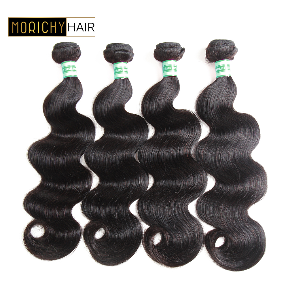 MORICHY Hair Peruvian Body Wave Weave 100% Human Hair Bundles 8-28inch 4 Pcs Can Mix Length Natural Color Remy Hair Extension