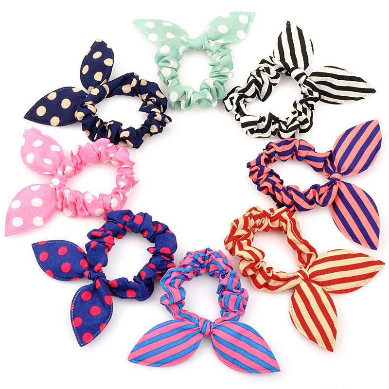 16 Pcs/lot Cute Bunny Girl Flower Headbands Rabbit Ears Dot   Headwear   Elastic Hair Rope