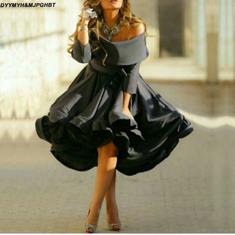 2018 New Black Off The Shoulder Short Prom Dress Satin Three Quarter Formal Gowns Women Evening Dresses