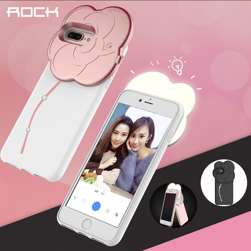 imágenes para ROCA Autofoto Llevó la Caja Ligera para el iphone 7/7 plus/6/6 s/6 s plus, Rhinestone caso Autofoto con Flash de luz Led
