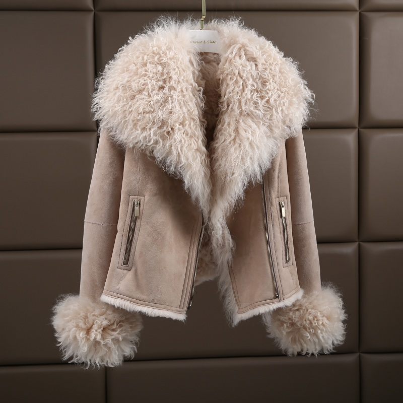Luxus Warme Echte Schaffell Natürliche Lamm Pelzmantel Wildleder Jacke Dickes Fell Der Mantel Für Frauen Plus Größe