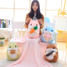 1pc 4 Patterns Pillow 35cm blanket 1x1.7m Hamster pillow blanket plush mouse dolls office air conditioning blanket Home ornament blanket eponj home blanket
