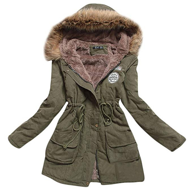 Autumn Winter Jacket Women Parka Warm Jackets Fur Collar Coats Female Long Parkas Hoodies Office Lady Cotton Plus Size 1