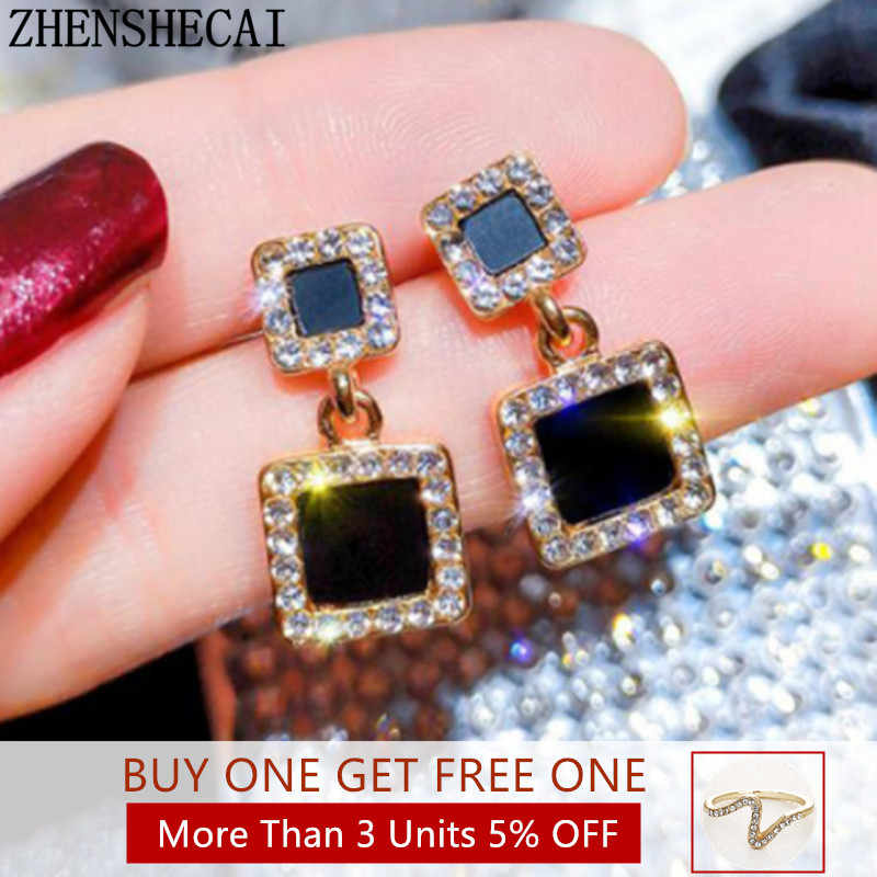 Statement Earrings 2019 Black Square Geometric korean Earrings For Women Crystal Luxury Wedding Rhinestone Earring Gold Color