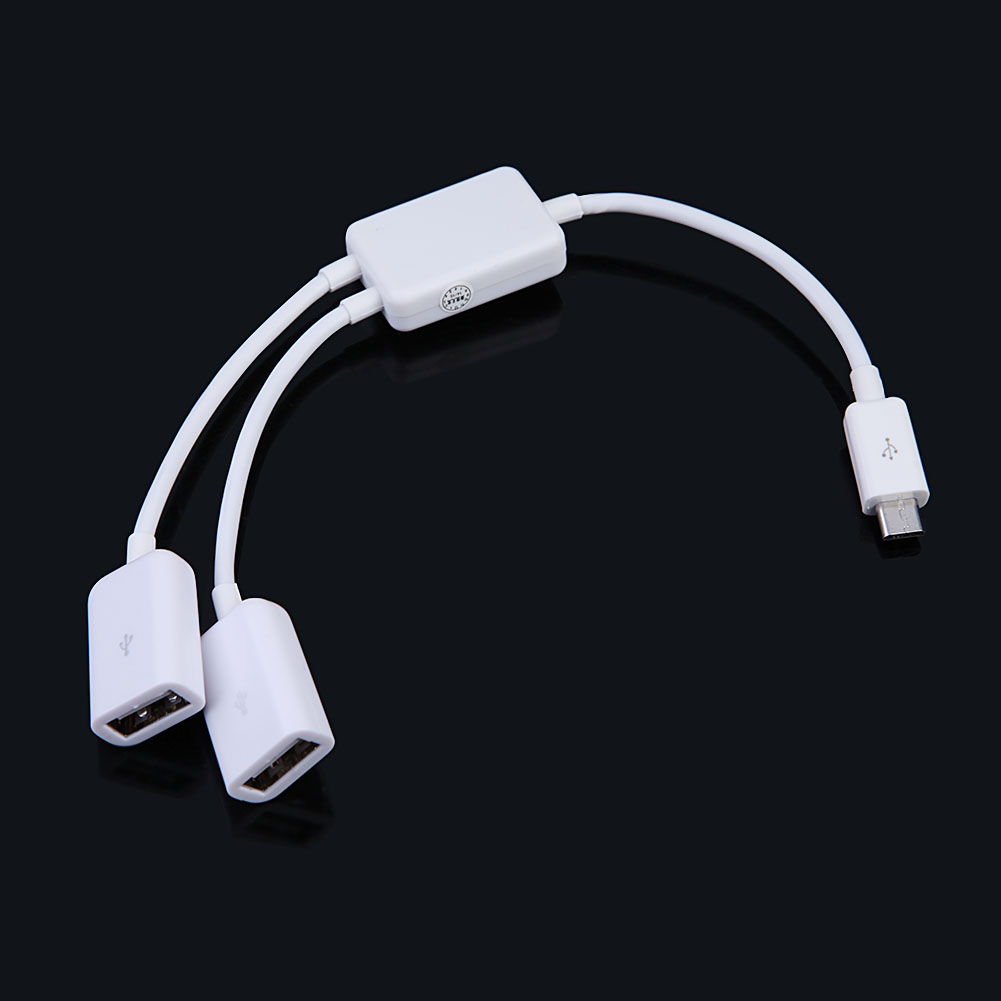OTG Cable Micro USB Host Cable Male to 2x Type Dual USB Female OTG Adapter Converter Hub For Android Tablet PC Phone Mouse 20cm dual micro usb host otg hub adapter cable black 3 ports data transfer connector device for dell venue8 pro windows 8 sep08