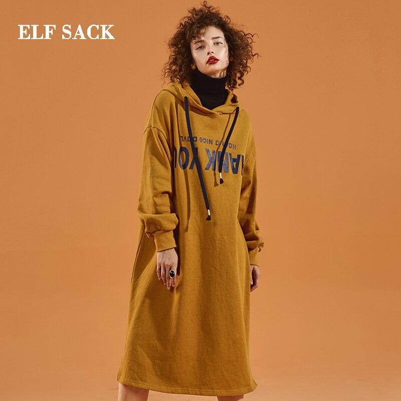 ELF SACK New Fashion Woman Dress Long Sleeve Cotton Straight Women Dresses Knee Length Letter Casual