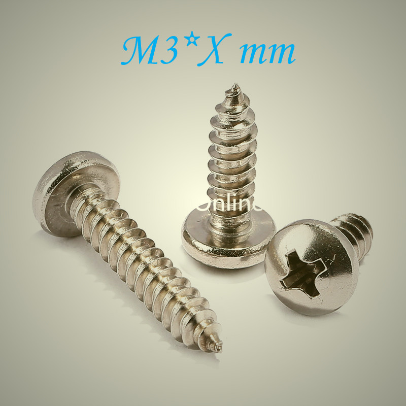 YT805   304 Stainless Steel Phillios Self-tapping Screws  Cross Recessed Pan Head Tapping Screw  M3 * Xmm   Free Shipping free shipping 100pcs lot gb818 m3x35 mm m3 35 mm 304 stainless steel phillips cross recessed pan head screw