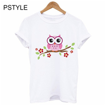 Cartoon Harajuku Print Femal Tee Shirt Summer Short Sleeve Kawaii Owl Design Funny T Shirts Animal White Tops Streetwear