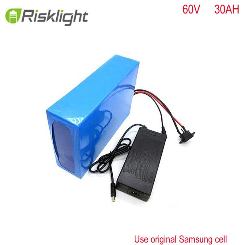 Forme personnalisée 18650 60 v 3000 w Batterie Rechargeable de Batterie d'ion De Lithium 60 v 30ah ebike batterie pour E-motos pour Samsung cellule