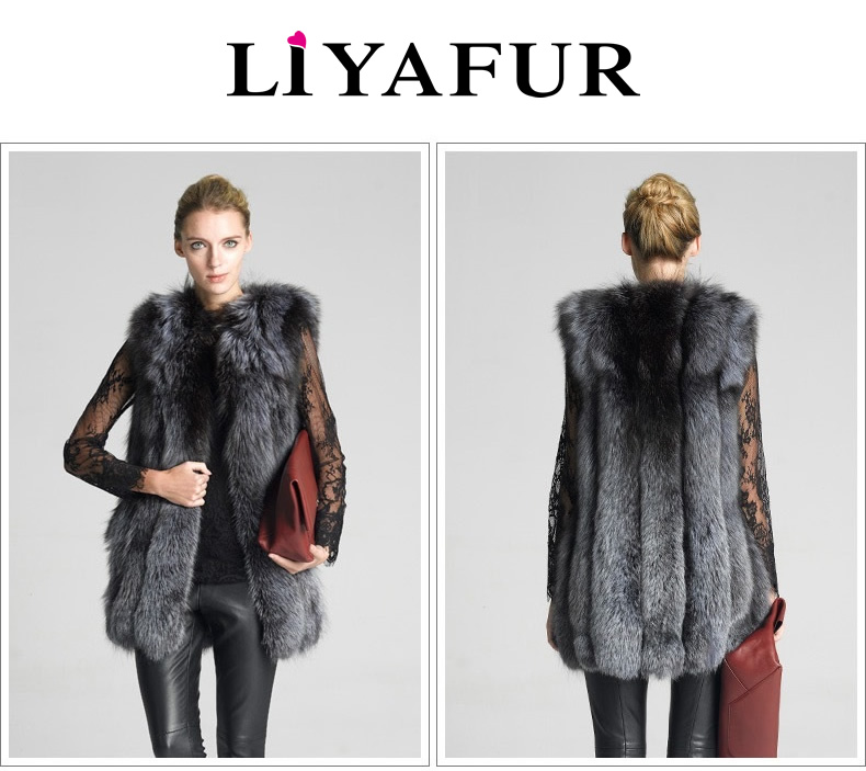 LIYAFUR Frauen 100% echte echte Full Pelt Silber Fuchspelz lange - Damenbekleidung - Foto 6