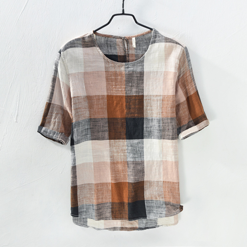 NEW 2019 Mens Pullover Linen T-Shirts Plaid breathable high-quality casual T-shirt