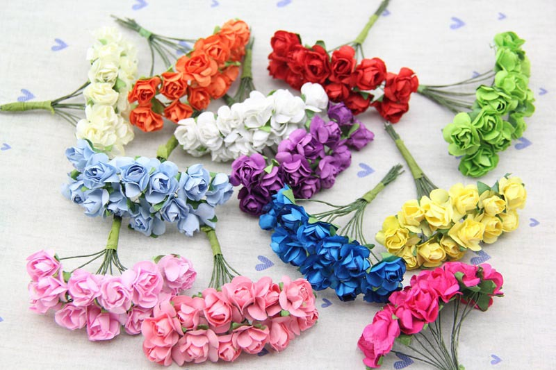 1.8CM Artificial Mini Mulberry Paper Roses,DIY crafts Decoration accessories for wedding Candy box, garland Hair,scrapbooking