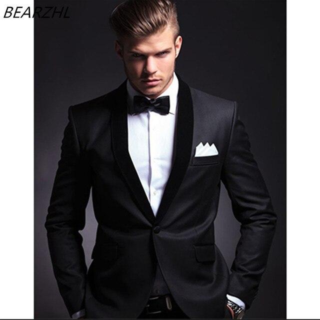 bespoke suit men groom tuxedo black custom made suits slim ...