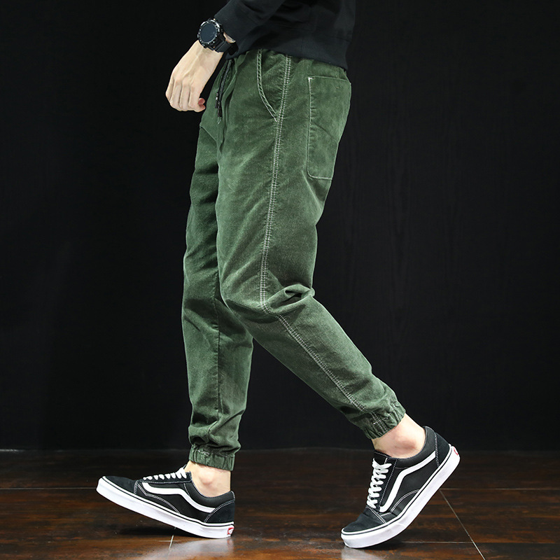 Joggers Pants Trousers Streetwear Japanese-Style Corduroy Harem Loose Fit Casual Fashion