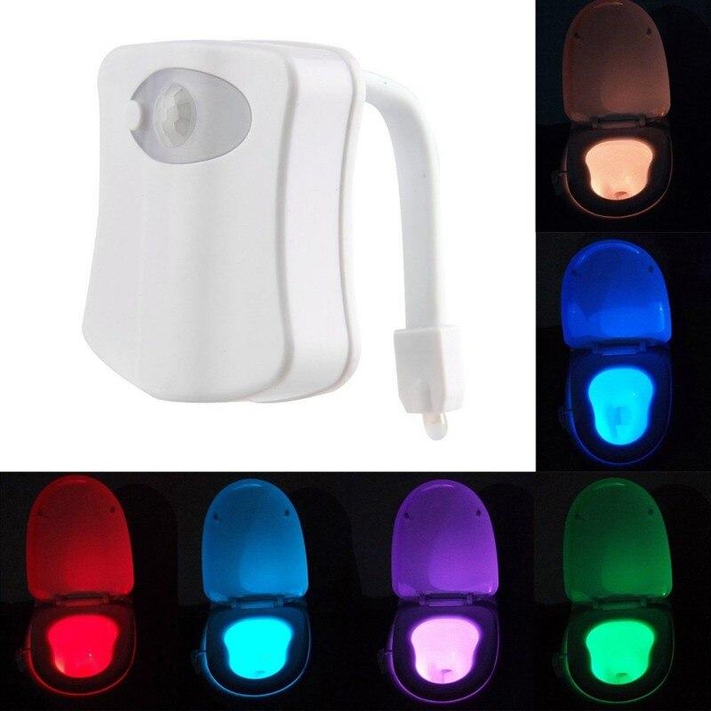 8 Colors LED Light Human Motion Sensor Automatic Toilet Seat Bowl Bathroom Night Light OG