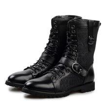 Черный Новый Натуральная Кожа Зашнуровать Combat Военная Середины икры Сапоги Мужская Мода Мотоцикл Сапоги Армейские Ботинки