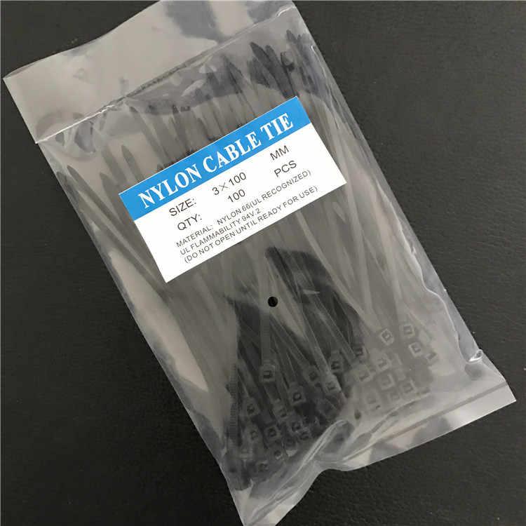 100 Pcs/Outdoor Alat untuk Tas 3X100 Mm Self-Locking Hitam Putih Biru Merah Kuning Nilon kawat Kabel Zip Ties Kabel Ties