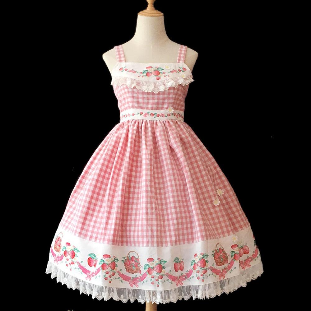 Sweet Women s Plaid Dress Strawberry Printed Cotton Casual Lolita JSK Dress by Infanta