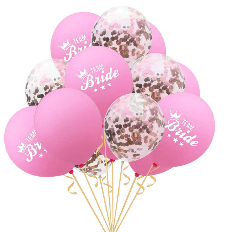 15Pcs Wedding Decoration Confetti Balloon Team Bride Bridal Shower Bride To Be Bachelorette Party Ballon Baby Shower Supplies