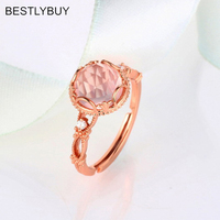 BESTLYBUY Natural rose quartzes silver ring , light pink color, cushion 8mm*8mm ,checkboard cutting, fashion fine jewelry