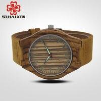 SIHAIXIN Wood Watch Male Reloj Hombre Simple Leather Bamboo Modern Wristwatch Analog Nature Man Quartz Creative Birthday Gifts