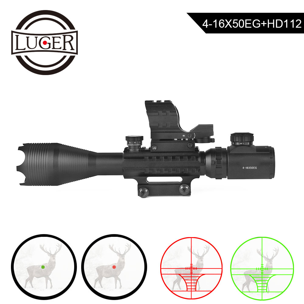 LUGER Riflescope Red Dot Sight Laser 3 In 1 Combo Collimator Sight Tactical 4-16x50 Hunting Scope Hd112 Reflex Optical Sight