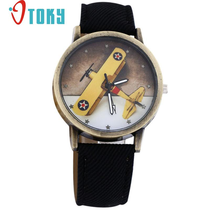 children watch Boy Girl Plane Design cartoon watch Denim Leather WristWatch Quartz Dial jy18 beautiful cartoon rubber strap quartz watch with plane and cloud shaped watchband for children azure