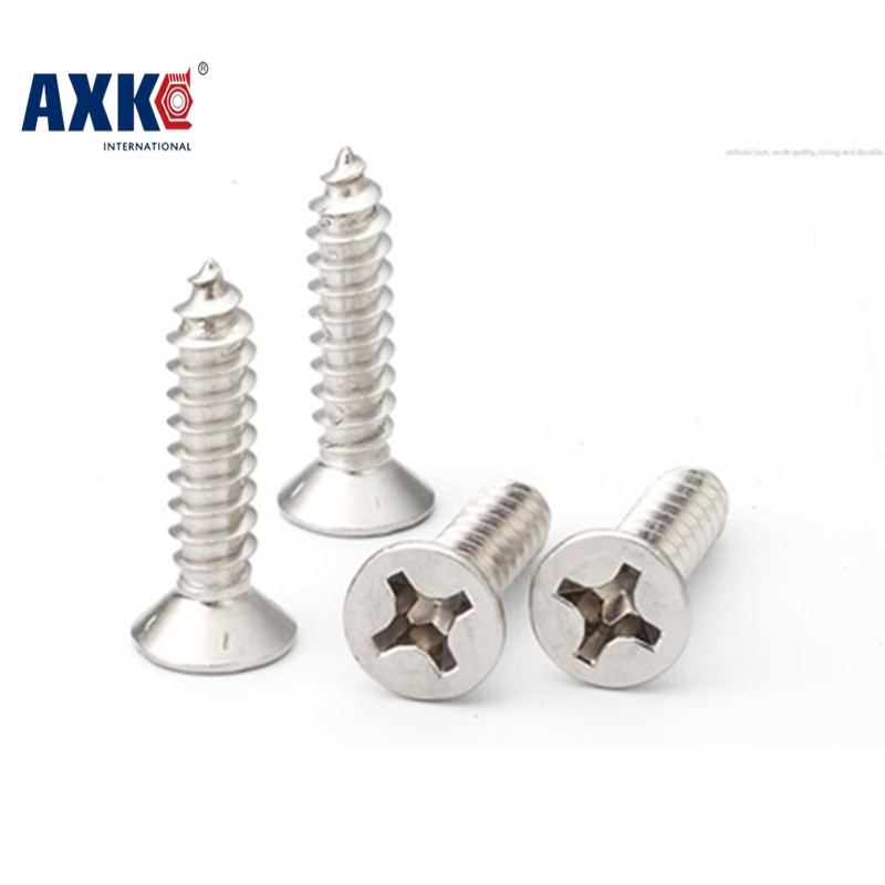Parafusos Hot Sale Drywall 2018 Axk 1000pcs M2*4/5/6/8/10/12/14 Stainless Steel 304 Flat Countersunk Head Self Tapping <font><b>Screw</b></font> image