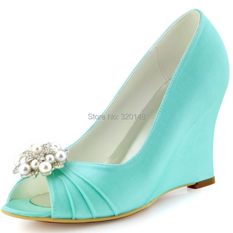 Aliexpress Buy Ivory High Heel Wedges Peep Toe Rhinestones Satin Bride Bridesmaids Prom
