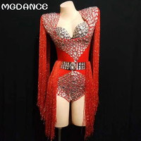crystal jumpsuit Sexy Big Rhinestones Tassel Bodysuit Women Outfit DJ Singer Show Nightclub Costume women suits