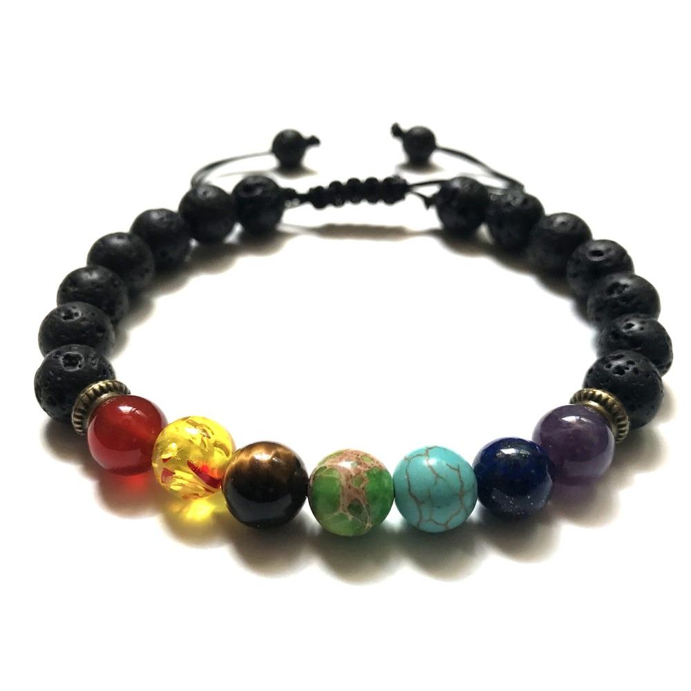 ①  натуральный камень 8мм вулканический камень браслет йоги аура камень браслет женский размер 19 см ①